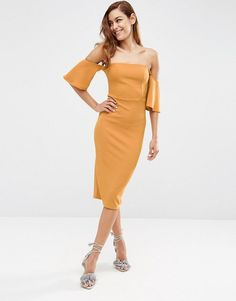 ASOS+Fluted+Sleeve+Midi+Dress+in+Texture