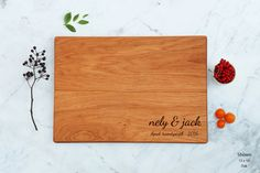 Wedding Cutting Board Personalized Unique Gift For Couple Engraved Custom Wooden Board Script Names Initial Monogram Engagement Bride Gift