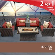Rustico 6 Piece Outdoor Wicker Patio Furniture Set 06c Custom Hand