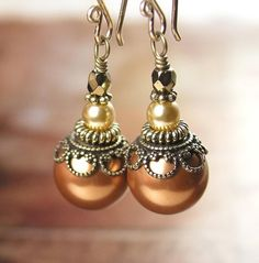Copper Pearl Earrings Swarovski Crystal Pearl Earrings Antique Gold Earrings Terra Cotta Red Brick Brown Earrings