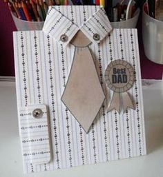 """Step-by-step photo tutorial to create this Father's Day card of a well-pressed shirt, tie and """"Best Dad"""" medal. Simple Birthday Cards, Birthday Cards For Him, Masculine Birthday Cards, Dad Birthday Card, Handmade Birthday Cards, Greeting Cards Handmade, Diy Birthday, Father Birthday, Masculine Cards"""