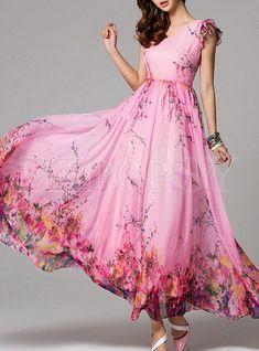 Shop Maxi Dresses - Pink Floral Frill Sleeve V Neck Maxi Dress Maxi Dress Summer, Chiffon Maxi Dress, Maxi Dress With Sleeves, Floral Maxi Dress, Floral Print Dresses, Mauve Dress, Metallic Dress, Pink Dress, Trendy Dresses