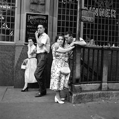 Vivian Maier :: Two couples at metro entrance, New York City, undated more [+] by V. Maier