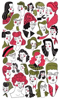 I love the multitude of fashion and design in the piece. Plus is combines two of my favorite colors, that weird pea soup green and a bright pink. Illustration by me, Ellen Surrey.