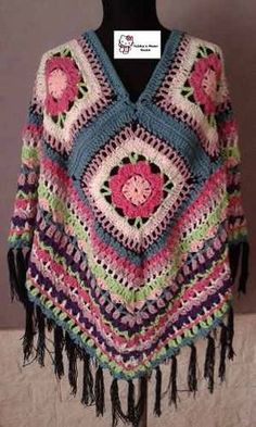 poncho artesanal tejido al crochet hilo o lana