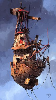 I'm building this and leaving social life behind! Goodbye everyone! Design Steampunk, Steampunk Kunst, Steampunk Airship, Dieselpunk, Flying Ship, Flying Boat, Fantasy World, Fantasy Art, Norman Rockwell