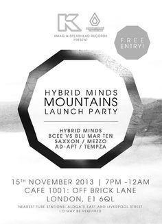 Hybrid Minds Album Launch | Café 1001 | London | https://beatguide.me/london/event/cafe-1001-kmag-presents-hybrid-minds-album-launch-party-20131115/poster/