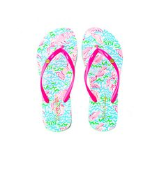 The Lilly Pulitzer Pool Flip-Flop in Lobstah Roll is Lilly's take on what you should wear to and from the pool. These easy rubber flip flops are printed and fun for sunny days. - Rubber Flip Flop With