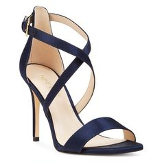 Women's Nine West Mydebut Cross Strap Sandal ($89) via Polyvore featuring shoes, sandals, navy satin, navy strappy shoes, nine west shoes, strappy sandals, navy blue shoes and satin shoes