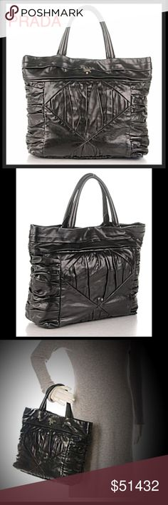 PRADA Royal Calf Pleated Tote Nero Black This tote features rolled leather top handles and a frontal silver Prada name logo. The top opens with a snap to a black Prada name logo jacquard weave fabric with zipper and patch pockets. This is an excellent tote that is ideal for everyday use with the contemporary chic from Prada! It's in very good condition! Prada Bags Totes