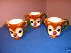 VINTAGE RUDOLPH THE RED NOSED REINDEER LEFTON MUG CUP~3 | #35004705