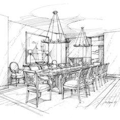 Interior Sketch Rendering of Formal Dining Room by Michael Flynn. www.MichaelFlynnStudios.com. Design credit: HBA. #interiorsketch #handsketch #handrendering #interiordesignsketch #michaelflynn