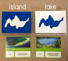 Exploring land and water form using Montessori geography materials paired with puzzles with photographs, names and definitions from Lakeshore Learning. A thorough, hands-on way to explore islands and lakes (pictured).