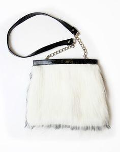 Motel Reversible Fur Shoulder Bag in Black and White