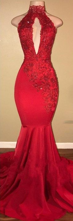 Elegant Red Mermaid Prom Dresses, Keyhole Neckline Backless Evening Gowns from Yaydressy Cheap Evening Gowns, Backless Evening Gowns, Red Evening Gowns, Backless Prom Dresses, Mermaid Gown Prom, Mermaid Evening Gown, Prom Dress Stores, Prom Dresses 2018, Prom Gowns