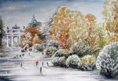 """""""Prima neve al parco, Milano """" acquerello di Lorenza Pasquali Paintings 35x51 www.lorenzapasquali.it  Copyright © Lorenza Pasquali"""