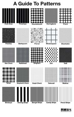 A guide to patterns, black and white print inspiration. Fashion Trend