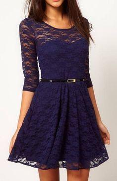 Sleeve Lace Dress With Belt Waist