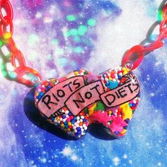 Riots Not Diets Resin Necklace Feminist Riot Grrrl by VixieAndMynx