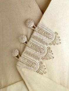 ca Edwardian dress passementerie trimming. Couture Details, Fashion Details, Crazy Quilting, Sewing Hacks, Sewing Projects, Hand Embroidery, Embroidery Designs, Passementerie, Edwardian Fashion