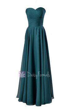 Long Sweetheart Chiffon Bridesmaid Dress Dark Teal Formal Dress – DaisyFormals-Bridesmaid and Formal Dresses in 59+ Colors