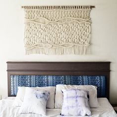 Modern macrame wallahanging made with high tech cotton rope!  This is a small version of the Tucan headboard for those that already have headboard