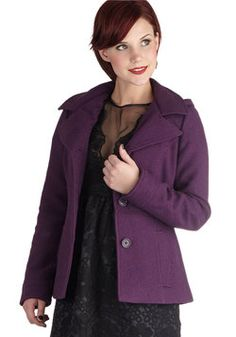 Grape to See You Jacket. As you drive down the familiar streets of your hometown, you spot a childhood friend strolling the sidewalk. #purple #modcloth