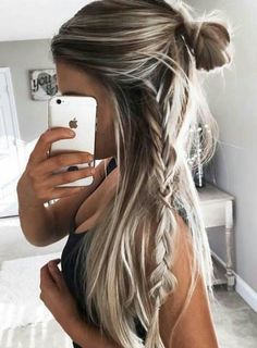 Pull your long blonde locks in a half up top knot and a side braid #hairspiration