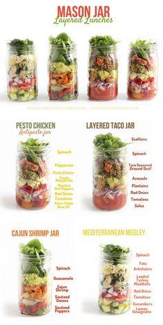 Layered mason jar lunches