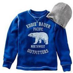 NWT Bigger Boys Eddie Bauer Thermal Tee in Cobalt Blue Size Medium (10/12) #EddieBauer #Everyday
