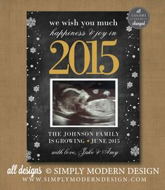 new year card, pregnancy announcement, growing by two feet, holiday card, new baby  www.simplymoderndesign.com