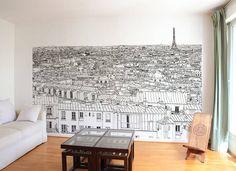 Papier peint Vue de Paris Invalides Tour Eiffel Panoramique: Murs & Sols de…