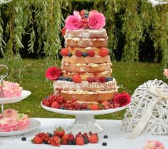 Raspberry Ribbon Cakes #Naked #Wedding #Cake dressed with fresh berries and roses