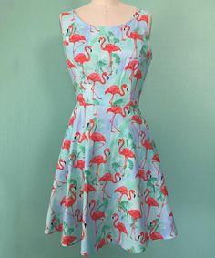 Look at this #zulilyfind! Blue & Pink Flamingo Fit & Flare Dress - Plus Too #zulilyfinds