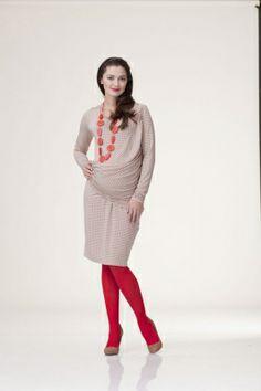 Sukienka ciążowa SURE beżowe wzory