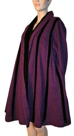 1940   Violet Wool with Black Velvet Swing Coat by Lilli Ann