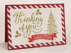 Christmas card using Stampin Up Thoughtful Branches bundle & Time of Year…