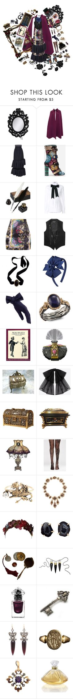 """""""high society witch"""" by astral-leech ❤ liked on Polyvore featuring Laurence Llewelyn-Bowen, Jacquemus, Dolce&Gabbana, Alexander McQueen, Yves Saint Laurent, Black, Emma Chapman, Ana Accessories, Olivia Collings Antique Jewelry and Her Curious Nature"""