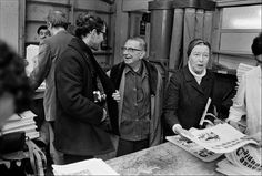 Jean-Luc Godard, Simone de Beauvoir and Jean-Paul Sartre distributing copies of the Maoist newspaper La Cause du Peuple in Paris, 1970.