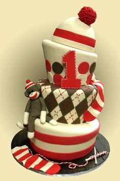 Sock Monkey Cake-I want this to b b's first birthday cake!!