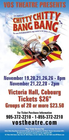 Chitty Chitty Bang Bang opens this month at Victoria Hall in #Cobourg! #artsKN http://www.vostheatre.com