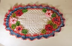 Crochet doily Irish Rose Garden by sosoftboytique on Etsy