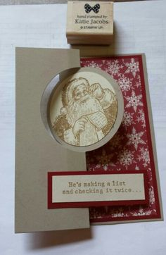 Santa's List Stampin Up on thinlits circle card
