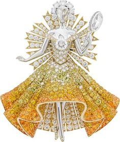 Fairy tale high jewellery collection - Van Cleef & Arpels Peau d'Âne collection white and yellow gold Sun Dress brooch with white and yellow diamonds, spessartite garnets, tourmalines and yellow sapphires. Van Cleef Arpels, Van Cleef And Arpels Jewelry, Gems Jewelry, High Jewelry, Jewellery, Mellow Yellow, Jewelry Collection, Diamond Cuts, Fairy Tales