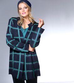 Exklusive Mode in Größen 42bis 64 von selection by Ulla Popken #exklusiv #damenmode #businessmode #plussize #elegant #style #fashion #karo #kariert #plussizestyle #cardigan
