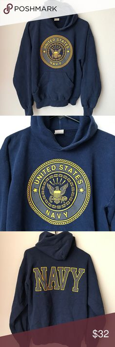 """Vintage Navy Military Hoodie Sweater Made In USA Vintage Navy Military Hoodie.  • Size Medium. • Measurements: • Shoulder to shoulder 24"""". • Armpit to armpit 23"""". • Sleeve length 34 1/2"""". • Length of Hoodie 24"""". • The string tie is gone, but otherwise excellent vintage condition! Nice and soft! M.J. Soffe Sweaters"""