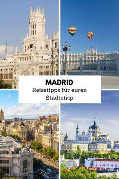 Madrid gehört zu den geschichtsträchtigsten Hauptstädten Europas überhaupt. Kein Wunder also, dass Madrid als Reiseziel für einen Städtetrip immer beliebter wird. Was ihr dabei auf keinen Fall verpassen solltet, verraten wir euch in unseren Madrid-Reisetipps. Madrid, Reisen In Europa, Spain Travel, Travel Guide, Taj Mahal, To Go, Europe, London, Building