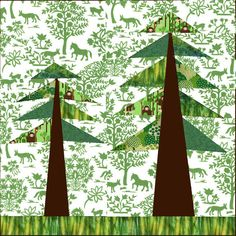 Forest paper pieced quilt block - love the green tapestry fabric