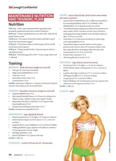Split weight training program. 6 days, 1 rest. Good basic plan or use as reference to change up your regular routine.
