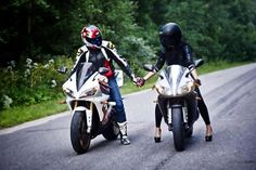 stylish, love the motor, looks like ducatti1199, even love the contrast between stiletto and motocycle,